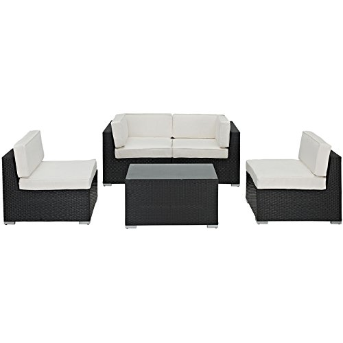 LexMod Camfora Outdoor Wicker Patio 5 Piece Sofa Set in Espresso with White Cushions image