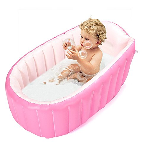 Inflatable Baby Bathtub,Topist Portable Mini Air Swimming Pool Kid Infant Toddler Thick Foldable Shower Basin with Soft Cushion Central Seat (Pink) (Baby Bath Air Tub compare prices)