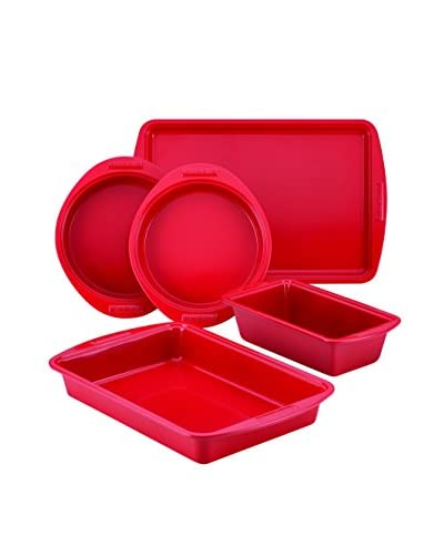 SilverStone Non-Stick Ceramic 5-Piece Bakeware Set, Chili Red