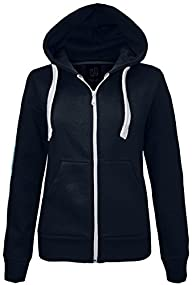 NEW LADIES WOMENS PLAIN HOODIE HOODED…