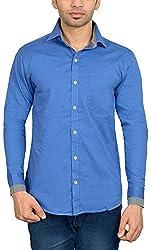 Libisto Lifestyle Men's Casual Shirt (AA31-03-FS-SOLID DODGER BLUE-7872, Blue, XXl)