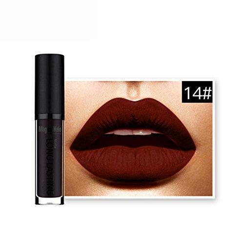 Lápiz labial mate de maquillaje,Internet Mate impermeable líquido del lápiz labial de larga duración Lip Gloss Labial (N)