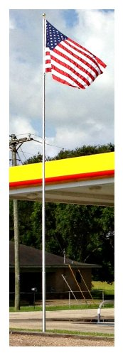 "30' Telepole ""Superior 3"" Telescoping Flagpole - 3.5"" Base Diameter, 10 Gauge Aluminum - Silver"