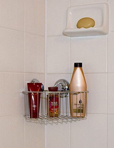 Creative Shop No Drilling Required Hukk Chrome Glass Bathroom Shelf At Lowes