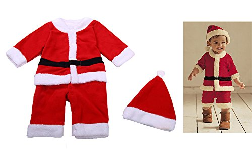 12-36m Baby Kids Santa Claus Costume Red Romper Onesie+Hat 2-piece Set