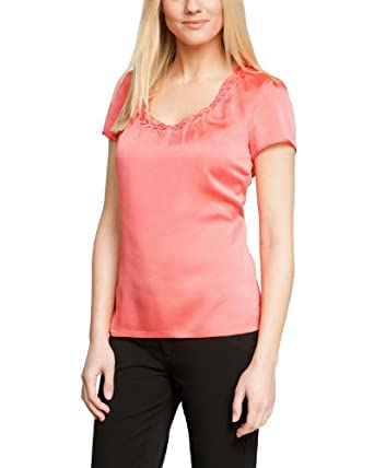Comma Damen Bluse Regular Fit 81.401.12.6616 BLUSE KURZARM, Gr. 44, Rosa (2045 lobster)