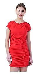 MERCH21 Women's Regular Fit Dress (MERCH-402-RED, Red, S)