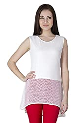 Paislei Offwhite Casual Solid Sleeveless Women's Top