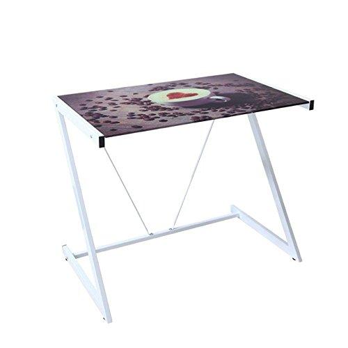 Scrivania Picture Cappuccino Cm 90x50xH 76 con piano in vetro serigrafato