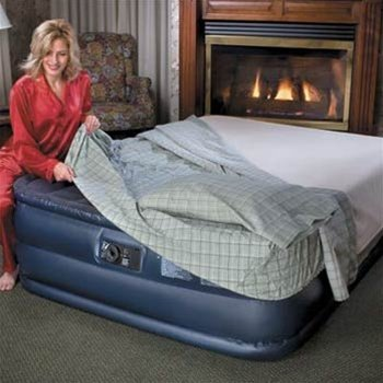 """Queen Size 22"""" High Comfort Airbed Mattress W/Built-In Electric Pump Flocked Sleeping Surface"""