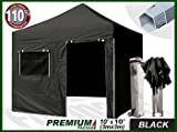 Eurmax Premium 3m x 3m Pop Up Gazebo Heavy Duty Marquee Folding Tent with Four Side Panels And Wheeled Carry Bag (Black)