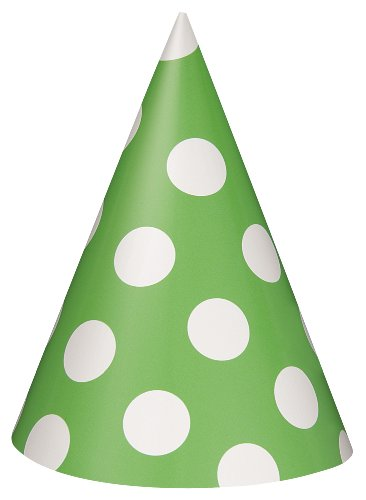 Polka Dot Party Hats Lime Green 8 Count (Polka Dot Paper Cones compare prices)