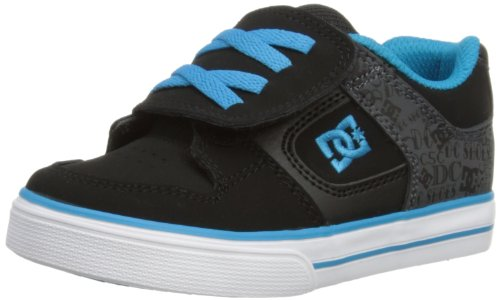 DC Shoes Boys Pure V T Shoe Low-Top 302194 Black/Blue Jewel 6 UK Child, 23 EU
