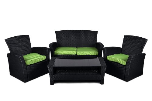 1 rattan set 4tlg mit glastisch gr n garnitur gartenm bel lounge sitzgruppe m bel g nstig. Black Bedroom Furniture Sets. Home Design Ideas