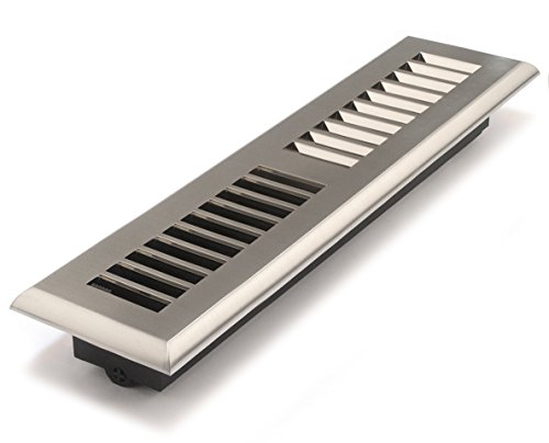 Accord APFRSNL212 Plastic Floor Register with Louvered Design, 2-Inch x 12-Inch(Duct Opening Measurements), Satin Nickel Finish (12x2 Register Box compare prices)