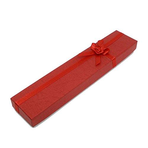 LEORX confezione da 12 scatole gioielli Braccialetto con custodia, in confezione regalo, colore: rosso