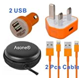Asone Orange 4-in-1 Earphone/cable Hard Case/Bag + Wall Charger + Car Charger+ 1M Length USB Sync Data / Charging Cable for iPhone 5 / 5C / 5S iPad Mini iPod Touch 5th Gen