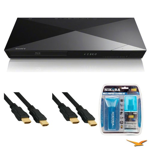 Sony 4K Upscaling BDP-S6200 Dual Core Blu-ray Disc Player HDMI Cable Bundle – Includes blu-ray player, 2 6ft High Speed 3D Ready 120hz Ready 1080p HDMI Cables, and All Purpose Cleaning Kit