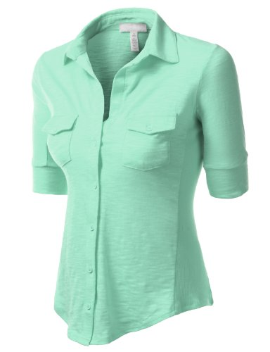 J.Tomson Womens 3/4 Sleeve High Low Button Down Slub Shirt Mint Large