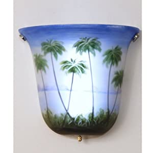 Exciting Lighting AMBP101 Battery Powered Bell Shaped LED Wall Sconce with Glass Hand Painted Palm Trees, White, Brown and Green