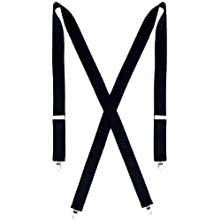 Big and Tall Dress Black Suspenders for Men - 54 inches Long - 1.5 inches Wide