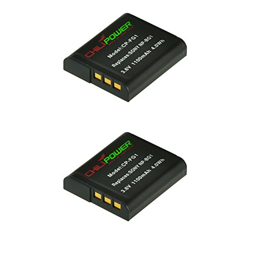 2x ChiliPower NP-BG1, NP-FG1 (1100mAh) Akku für Sony Cybershot DSC-HX5V, DSC-HX7V, DSC-HX9V, DSC-HX10V, DSC-HX20V, DSC-HX30V, DSC-H3, DSC-H7, DSC-H9, DSC-H10, DSC-H20, DSC-H50, DSC-H55, DSC-H70, DSC-H90, DSC-N1, DSC-N2, DSC-T20, DSC-T100, DSC-W30, DSC-W35, DSC-W50, DSC-W55, DSC-W70, DSC-W80, DSC-W90, DSC-W100, DSC-W120, DSC-W130, DSC-W150, DSC-W170, DSC-W200, DSC-W210, DSC-W215, DSC-W220, DSC-W230, DSC-W270, DSC-W290, DSC-W300, DSC-WX1, DSC-WX10, Handycam HDR-GW77V