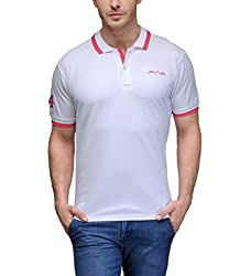 AWG Men's Premium Cotton Polo T-shirt with Embroidery - White - FBAAWGTS8xxxl