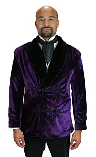 Historical Emporium Men's Vintage Velvet Smoking Jacket L Purple