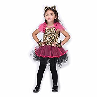 B-JOY Wild Leopard Kid Cat Costume Girl Cat Tutu Dress + Cat Ear Headband + Gloves