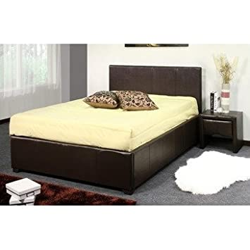 Ideal Furniture London Storage Bed, Faux Leather, Brown, Double