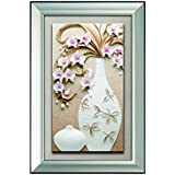 Decals Arts Hand Painted Large Flower Vase With Frame 3D Embossed Painting