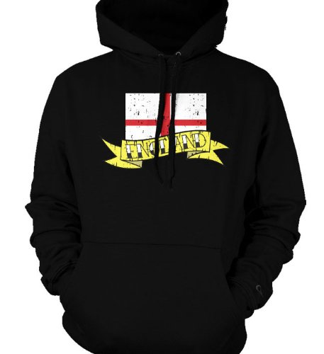 England Flag and Banner Tattoo Style Design Sweatshirt, British National Pride Mens Pullover Hoodie
