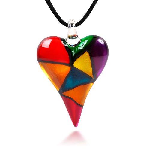 Hand Blown Venetian Murano Glass Multi-Colored Mosaic Design Heart Pendant Necklace, 18-20 inches (Italian Blown Glass Necklace compare prices)