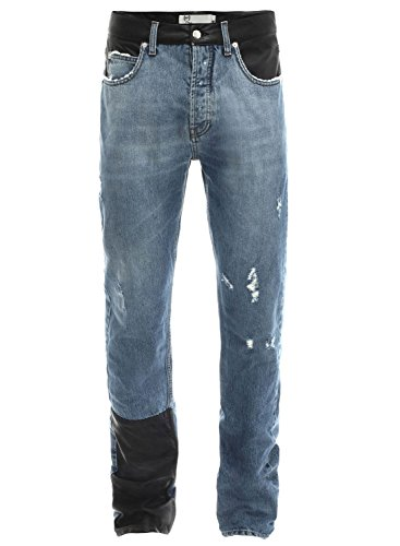Alexander McQueen Relaxed Fit Straight Blue Jeans 32W x 34L Faux Leather