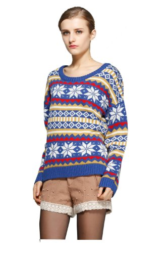 V28 Women's Vintage Snowflake Stripe Loose Christmas Sweater Jumper