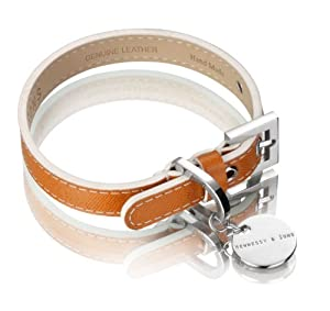Hennessy & Sons Hand Made Italian Saffiano Leather Dog Collar, 29 - 35 x 1.8 x 0.3 cm, 60 g, Hermes Tan