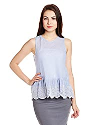 Chemistry Women's Body Blouse Top (C16-073WTTOP_White and Blue_X-Small)