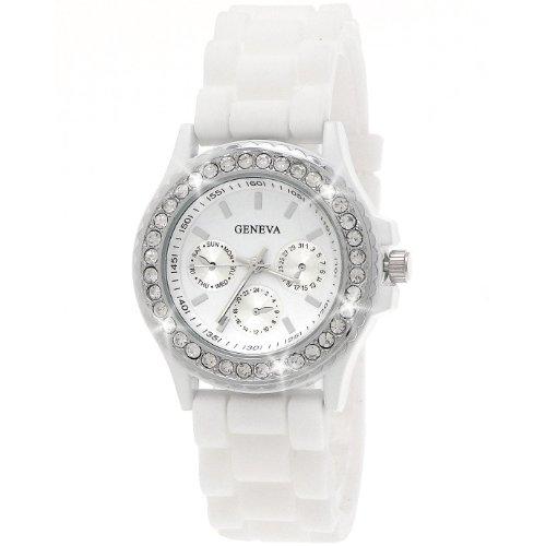 Designer Damenuhr,Damen Silikon Armband Strass Uhr/Watch in Chronograph Optik,Weiß,Silber inkl. Geschenkbox/Uhrenbox