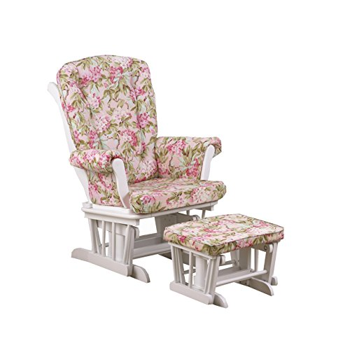 Cotton Tale Designs Glider Floral on White with Ottoman, Tea Party