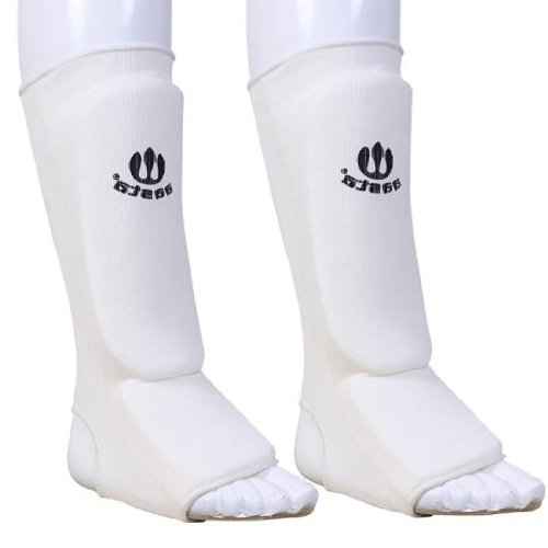 WT medium shin instep shin guards pads leg foot protectors with elasticated anklet protection thai kickboxing martial arts boxing mma