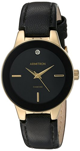 armitron-womens-75-5410bkgpbk-diamond-accented-gold-tone-and-black-leather-strap-watch