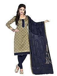 Fabgruh Presents Chanderi Dress Material(Beige)