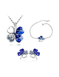 Shappire Blue Heart Blue Clover Pendant Necklace & Stud Earring Earring And Bracelet Set