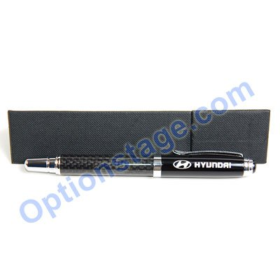 Hyundai Logo Real Carbon Fiber Official Licensed Roller Ball Pen with Detachable Cap (Black Ink)