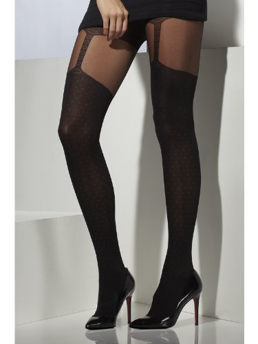 Fever Women's Opaque Tights with Suspender Print In Display Box, Black, One Size - 1