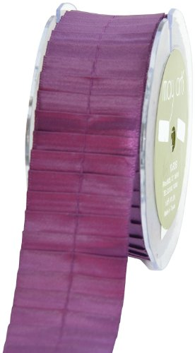 May Arts 1-1/2-Inch Wide Ribbon, Plum Satin Pleats front-86478
