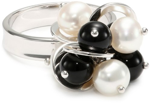 TARA Pearls White Freshwater Onyx 6x6.5mm Adjustable Ring