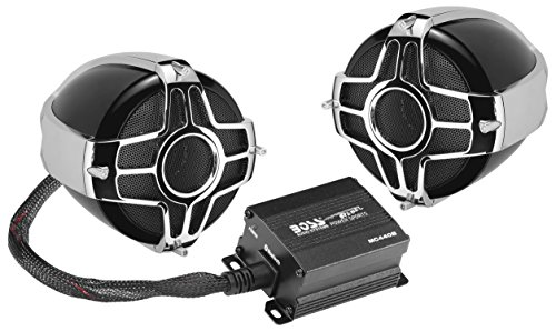 BOSS Audio Systems MC440B Motorcycle Speaker System - Bluetooth, Weatherproof Speakers  Amplifier, 2 3 Inch Speakers, 2 Channel Amplifier, 1 Volume Control, Use with ATV Motorcycle 12 Volt Vehicles