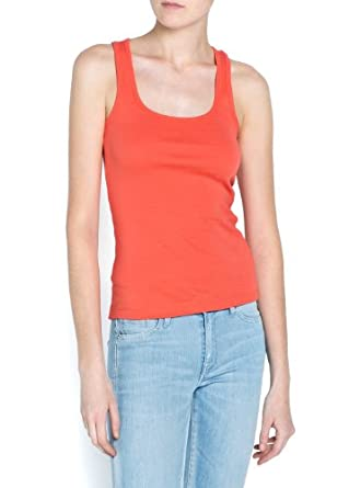'Mango Women's Straps Cotton T-Shirt, Soft Coral, Xxs