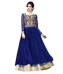Fashion Web Women's Net Embroidered Semi-Stitched Anarkali Ethnic Gown (Fw-269_Blue_Free Size)